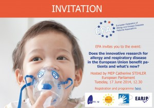 Invitation - EFA event on EU research on allergy and respiratory disease