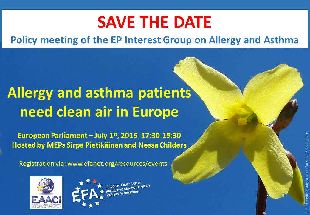 SAVE THE DATE Allergy and asthma patients need clean air